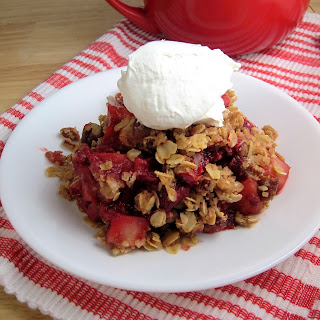 Apple Raspberry Crisp with Oat Pecan Topping.
