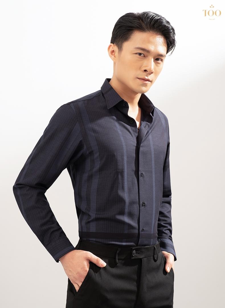 Mẫu áo sơ mi nam cao cấp tím than K422CS được khá nhiều quý ông ưa chuộng