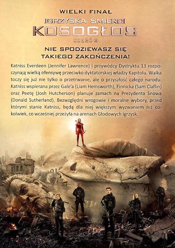 Tył ulotki filmu 'Igrzyska Śmierci: Kosogłos. Część 2'