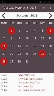 Holidays Calendar in Australia - náhled