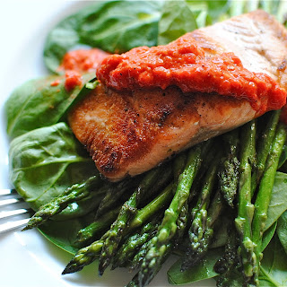 Seared Salmon with Red Pepper Pesto