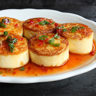 Pan-seared Egg Tofu Scallops With Sweet Chile Sauce.