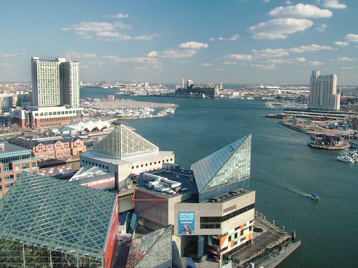 Catch the view from the 17th floor of the World Trade Center in Baltimore, Maryland.