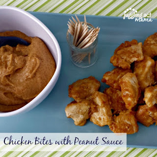 Chicken Bites with Peanut Sauce.