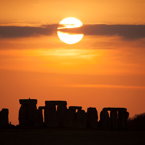 Sunset over Stonehenge by Simon West - Landscapes Sunsets & Sunrises ( druids, stonehenge, sunset, silhouette, druid, wiltshire, stones, standing )