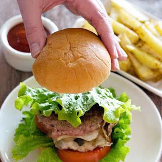 Mushroom and Onion Stuffed Cheeseburger