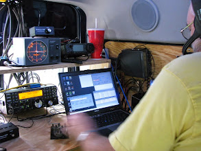Photo: Terry W8ZN operating K8GP / Rover - Microwave station