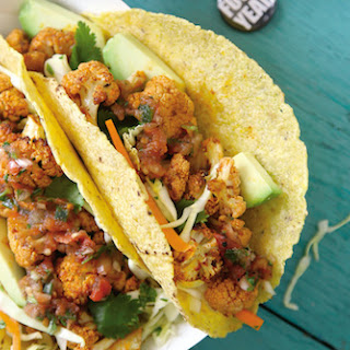Roasted Beer and Lime Cauliflower Tacos with Cilantro Coleslaw