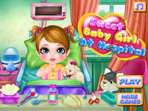病院の赤ちゃんのゲームで女の子