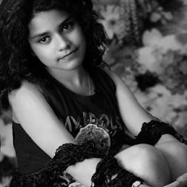 The solitary Princess by Rajib Chatterjee - Black & White Portraits & People
