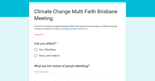 Climate Change Multi Faith Brisbane Meeting