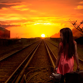 Homeward Bound by Graeme Garton - Digital Art People ( girl, train track, sunset, track, journey, train, traveller, travel, young, skies )
