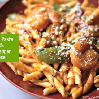 Shrimp Pasta with Red Pepper Sauce (low carb & Paleo version too)