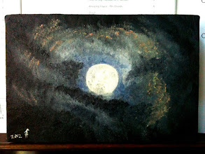 """Photo: 129/366 - supermoon (9x6"""" oil on stretched canvas)"""
