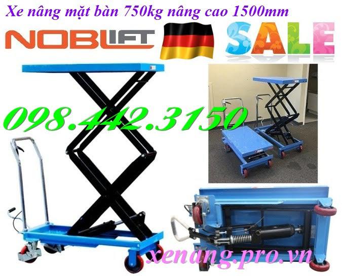 Xe nâng bàn 750kg nâng cao 1500mm