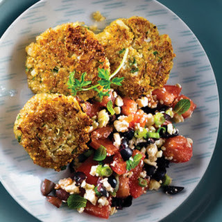 Cauliflower & Quinoa Patties with Mediterranean Salad Recipe