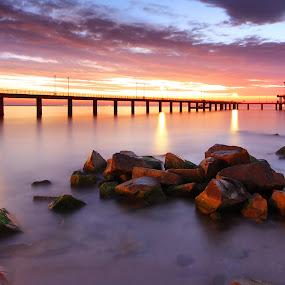 Sunrise at Bourgas coast by Senna Ayd - Landscapes Waterscapes ( water, waterscape, bridge, sunrise, sun )