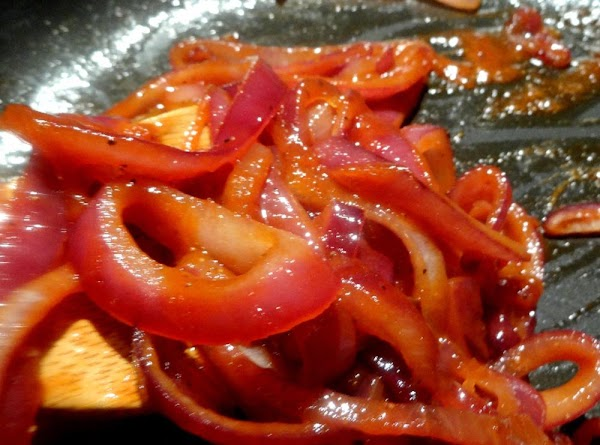 Stir and mix the onions, ketchup, vinegar, salt and pepper  and cook the...