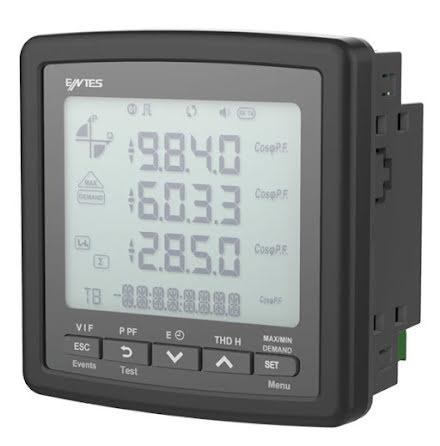 Nätverksanalysator 3-fas, RS-485, LCD, AMP.-VOLT-kWH, RTC, THD, minne
