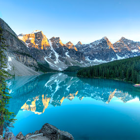 Moraine Lake Sunset by Zachary Lai - Landscapes Mountains & Hills (  )