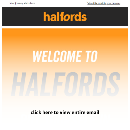 Mailigen Welcome Emails Halfords