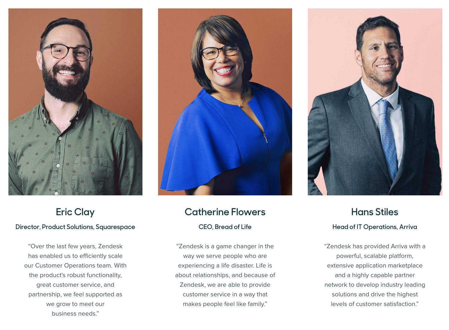 Zendesk displays B2B testimonials from prominent people in the industry.