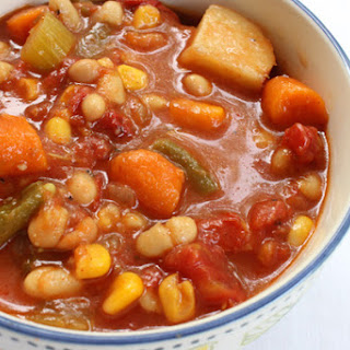 Slow Cooker Chunky Bean & Vegetable Soup.