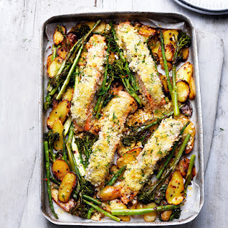 Tray-roast Salmon And Vegetables With Crème Fraîche And Crumbs.