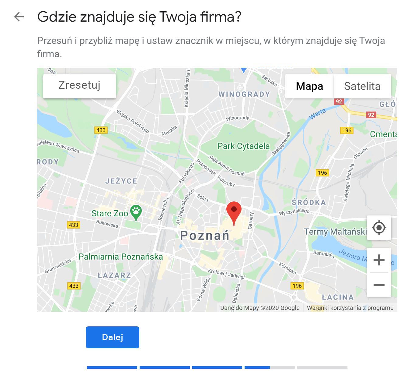 google maps wybór lokalizacji