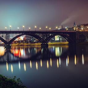 Old bridge maribor by Mitja Kosi - City,  Street & Park  Night ( maribor night cityscape )
