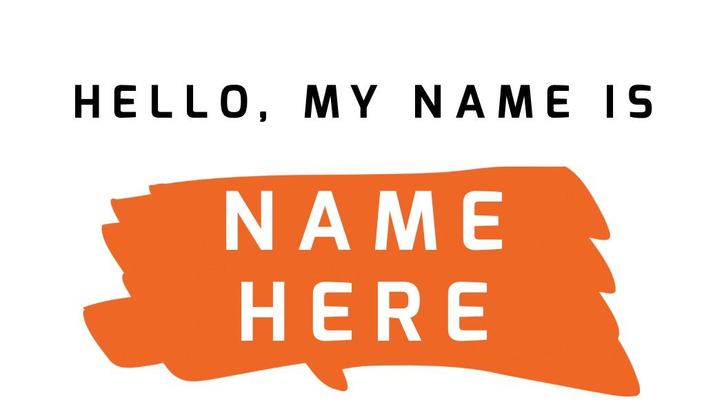 name tag template orange