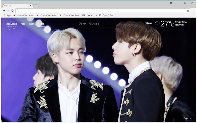 Jimin & Jungkook BTS HD Wallpapers New Tab