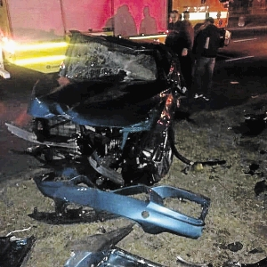 The wreckage of Mpisane's BMW M4 that's worth over R1-million.
