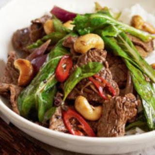 Beef, cashew and Thai basil stir-fry.