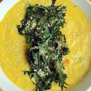 Cauliflower Cream Soup with Crispy Kale.