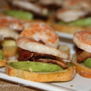 Shrimp, Candied Bacon and Avocado Crostini.