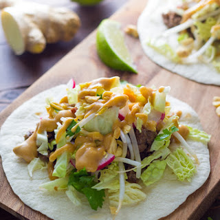30-Minute Ginger Beef Tacos with Peanut Sauce.