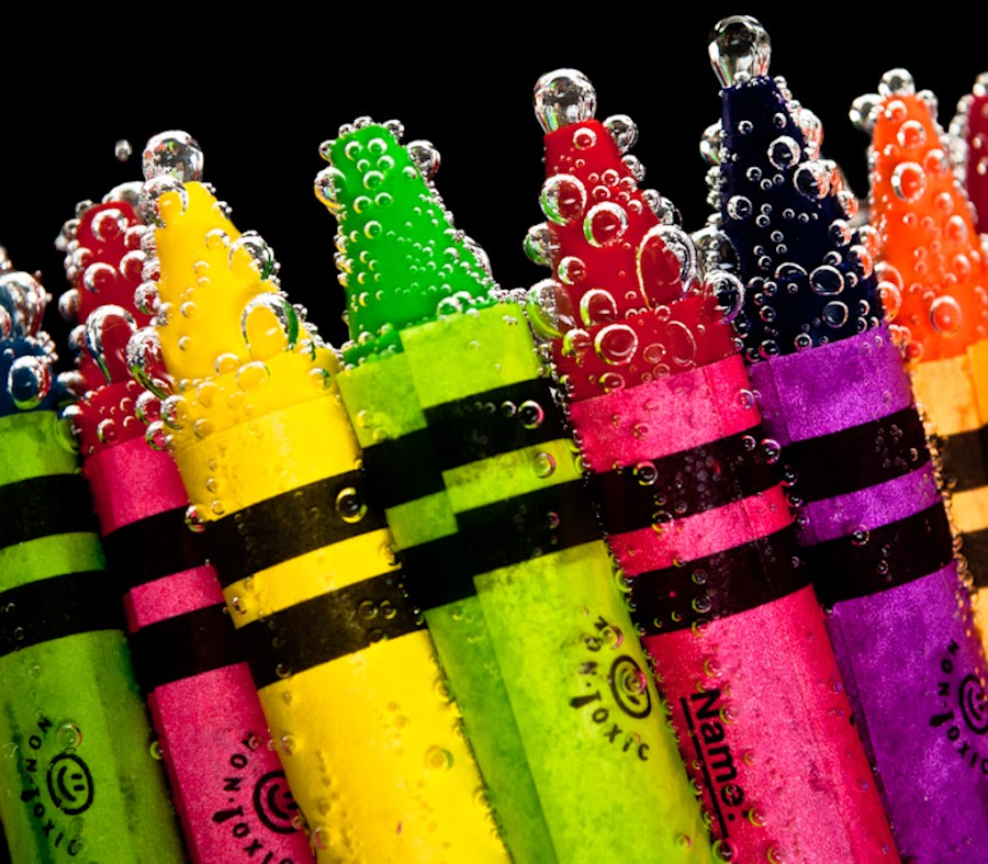 Sparkling Colours by Brandon Havenga - Artistic Objects Other Objects ( orange, red, purple, blue, green, yello, bubbles, wax, pink, crayons, colours )