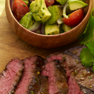 Grilled Tequila-Lime Skirt Steak with Avocado Chopped Salad.