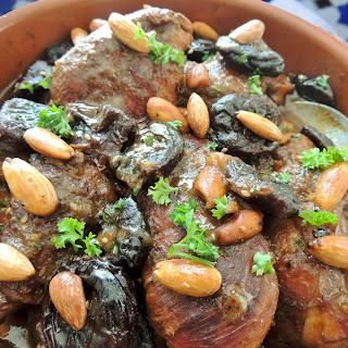 Chicken Tajine with prunes and almonds.