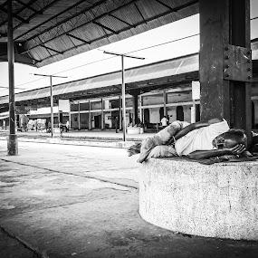 from old street lane..... by Ashif Hasan - People Street & Candids ( khulna, from old street lane, bnw, people, platform, sleeping, sleep, rail station, street, ashif hasan, men, station, railway, black and white, khulna railway station, bangladesh, lines )