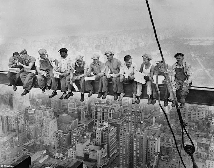 """Lunch atop a Skyscraper, 1932"" was photographed on top of Rockefeller Center by Charles C. Ebbets."