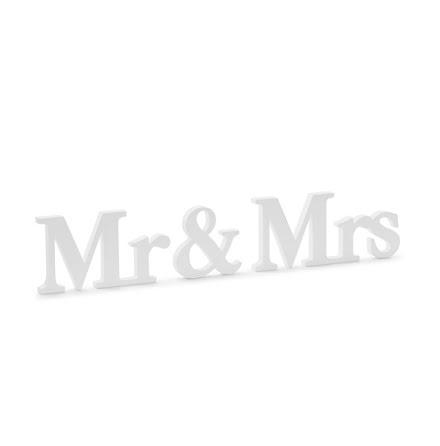 Träskylt - Mr & Mrs, vit