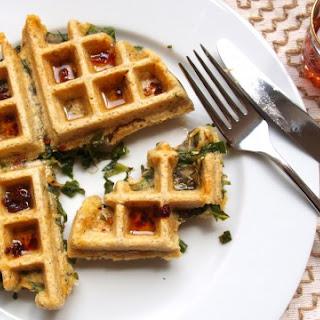 Collard Stuffed Cornbread Waffles with Chipotle Syrup