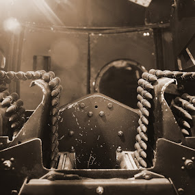 Rear Turret by David Clare - Artistic Objects Antiques ( aviation, sepia, guns, wwii, british, airplane, bomber, lancaster, antique, ammo, military,  )