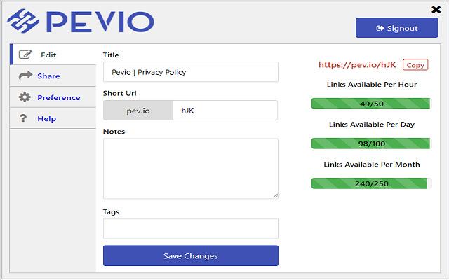 Pevio   URL Shortener with advanced analytics