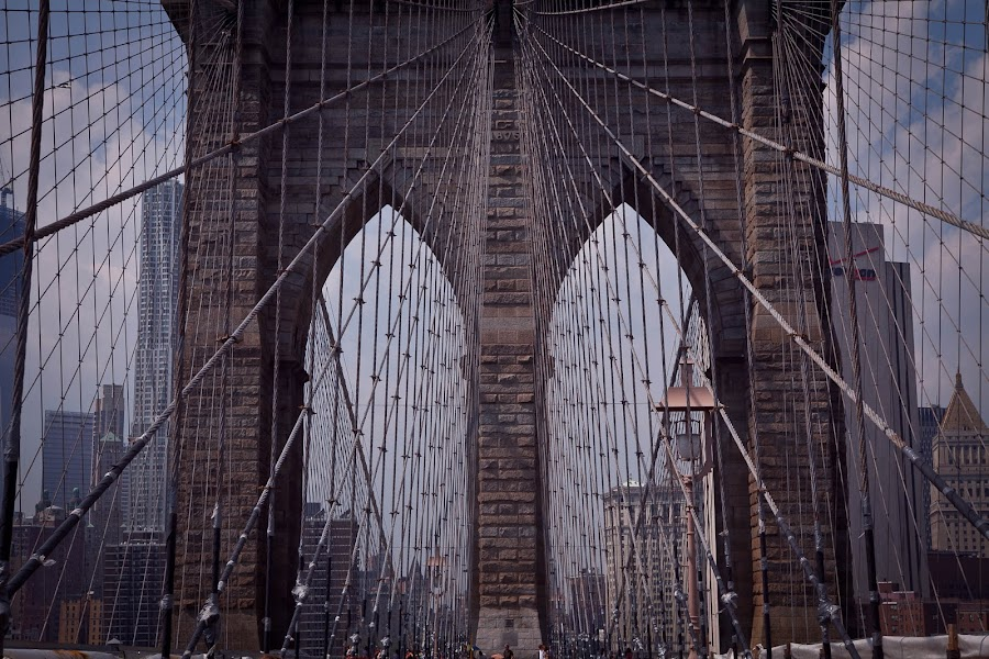 All Tied Up by Marc Brian Queyquep - Buildings & Architecture Bridges & Suspended Structures ( brooklyn bridge, cable, bridge, new york, brooklyn )