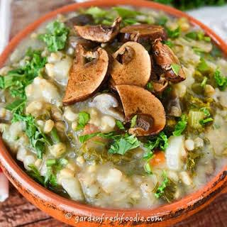 Mock Mushroom Barley Soup.