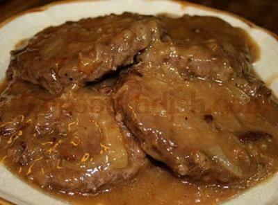 Hamburger Steak With Creamy Onion Gravy Just A Pinch Recipes