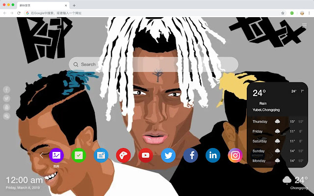 XXXTentacion Top Artists HD New Tabs Themes